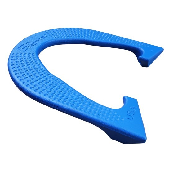 Six Shooter Horseshoes blue side view